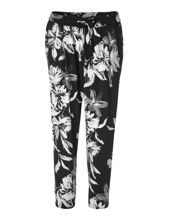 Floral Soft Ankle Pant, Black, hi-res