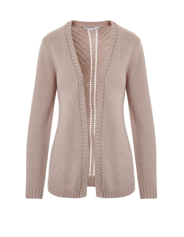 Pink Mid Length Open Cardigan, Dusty Pink, hi-res