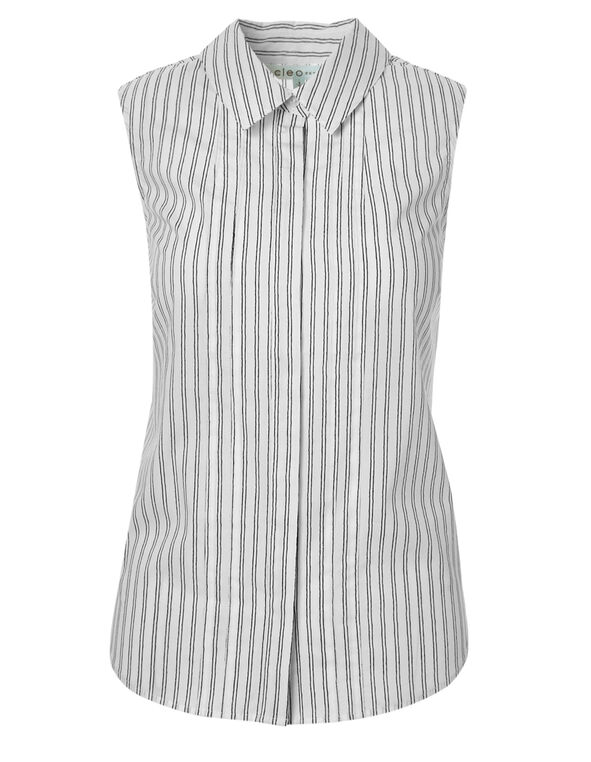 Striped Button Front Blouse, Stripe, hi-res