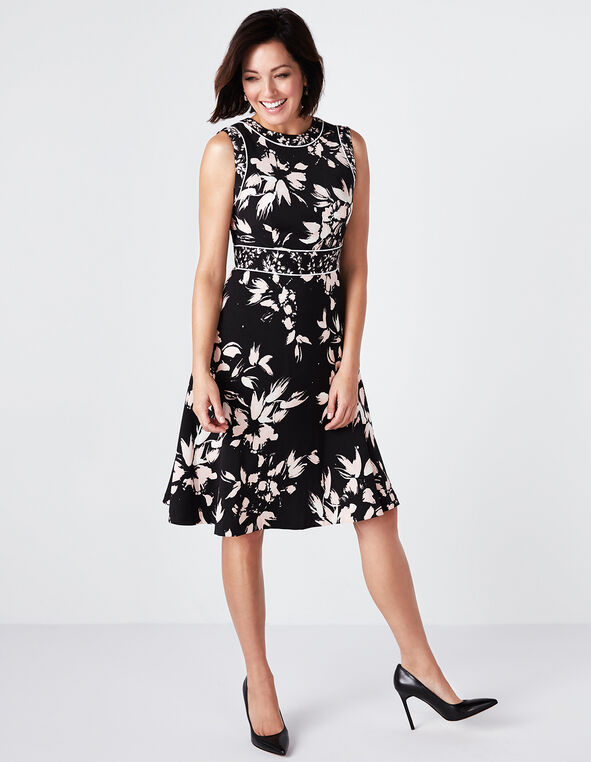 Black Floral Fit & Flare Dress, Pink/Ivory Floral, hi-res