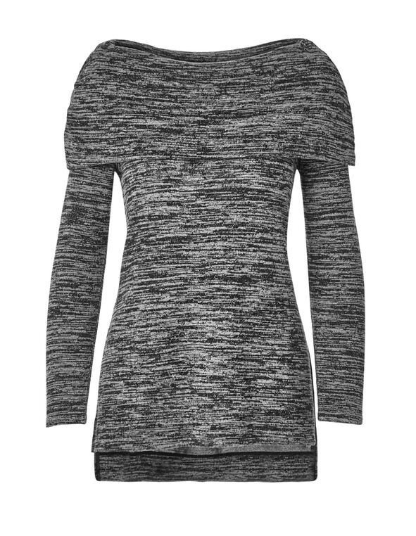 Charcoal Hacchi Marilyn Top, Charcol Melange, hi-res