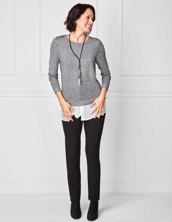 Dark Grey Chiffon Hem Tunic Sweater, Grey, hi-res