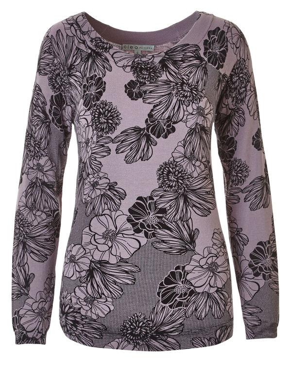 Mauve Floral Sweater, Mauve, hi-res