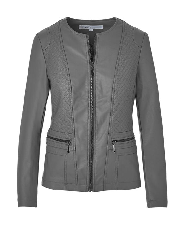 Grey Quilt Faux Leather Jacket, Grey, hi-res