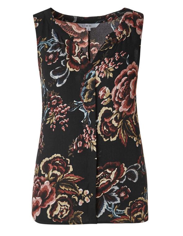Black Floral Hi-Low Shell Blouse, Black Floral, hi-res