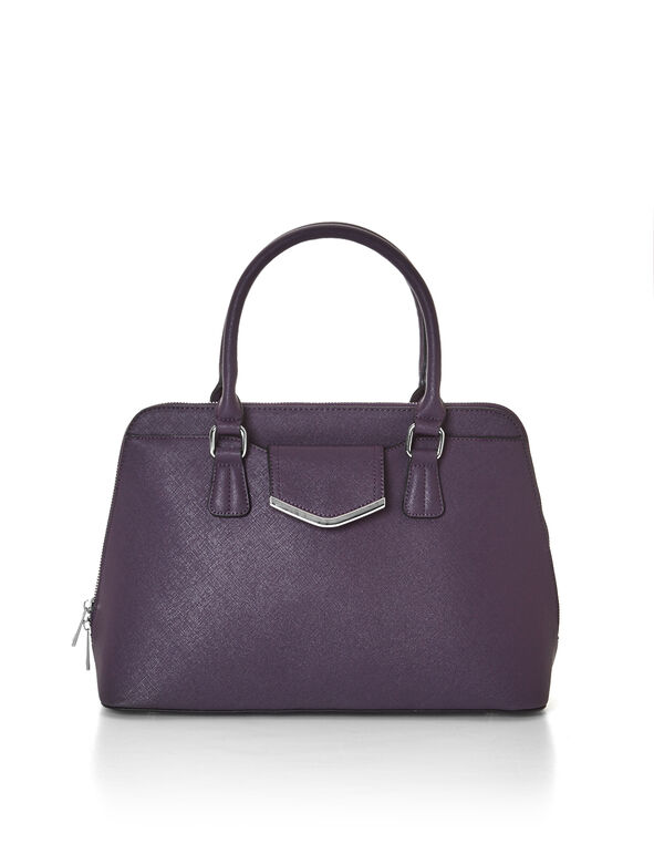 Purple Saffiano Dome Bag, Dark Purple/Silver, hi-res
