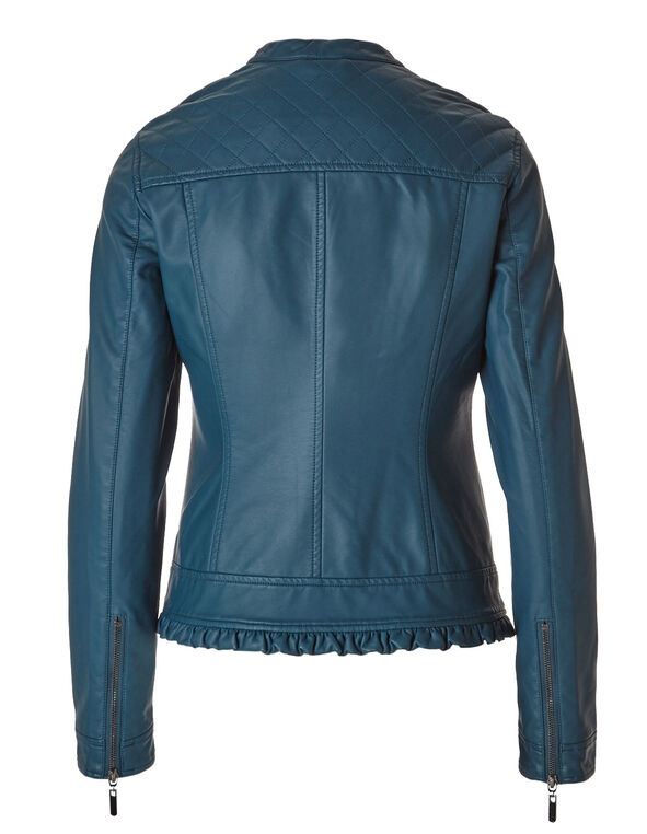 Teal Ruffled Faux Leather Jacket, Teal, hi-res