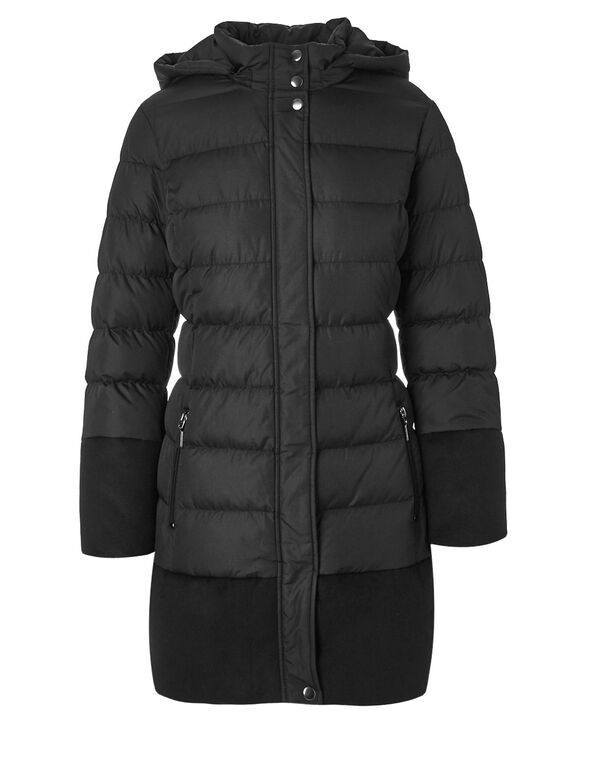 Black Faux Down Mix Jacket, Black, hi-res