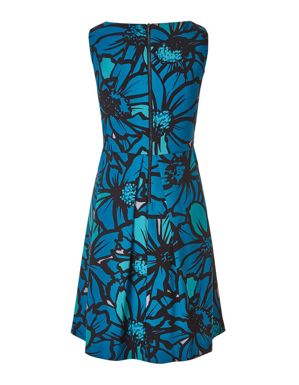 Turquoise Floral Dress with Pockets, Turquoise, hi-res