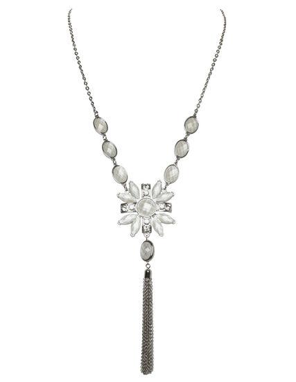 Ivory Stone Pendant Necklace, Rhodium/Ivory, hi-res