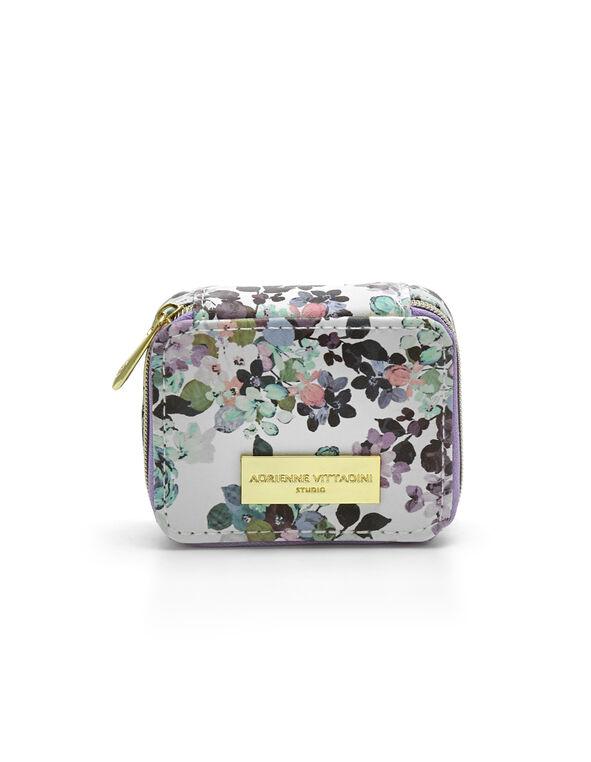 Purple Floral Pillbox Case, Purple, hi-res