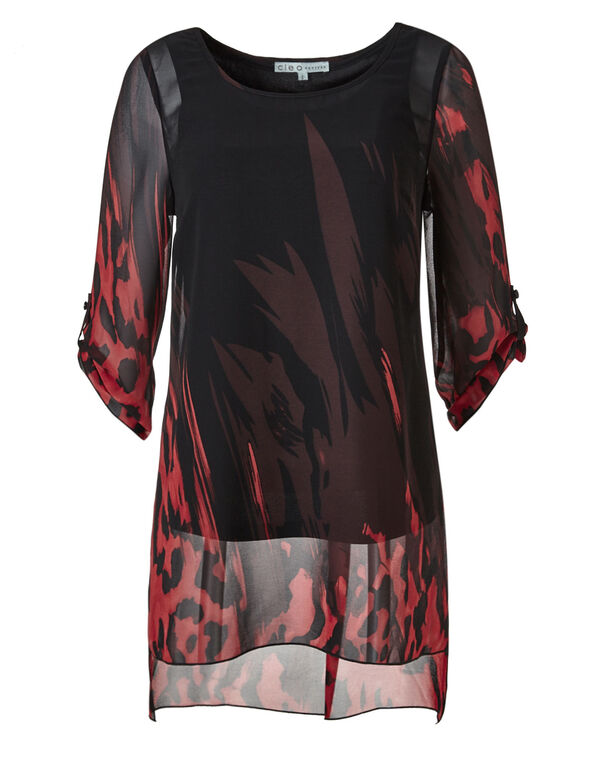 Black Printed Tunic Blouse, Black/Red, hi-res
