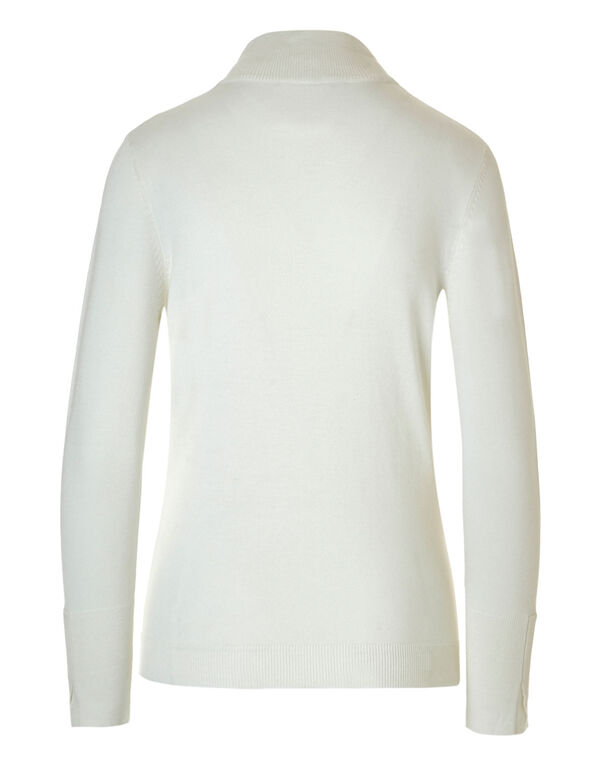 Ivory Mock Neck Sweater, Ivory, hi-res