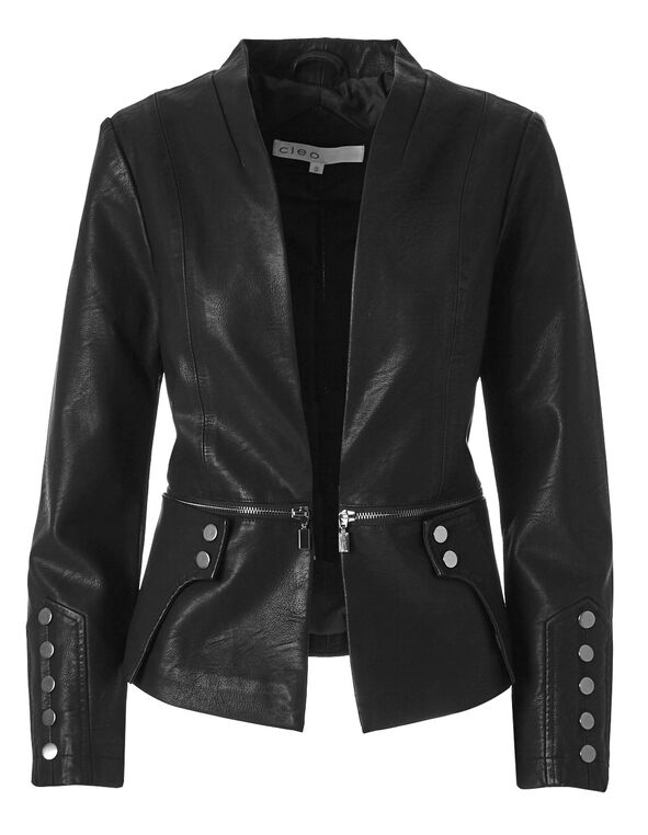 Black Open Faux Leather Jacket, Black, hi-res