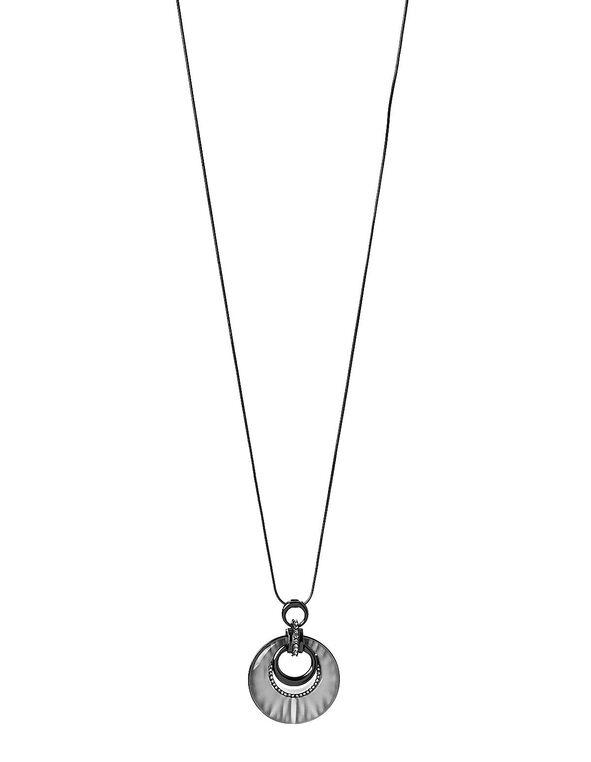 Grey Cat Eye Necklace, Hematite, hi-res