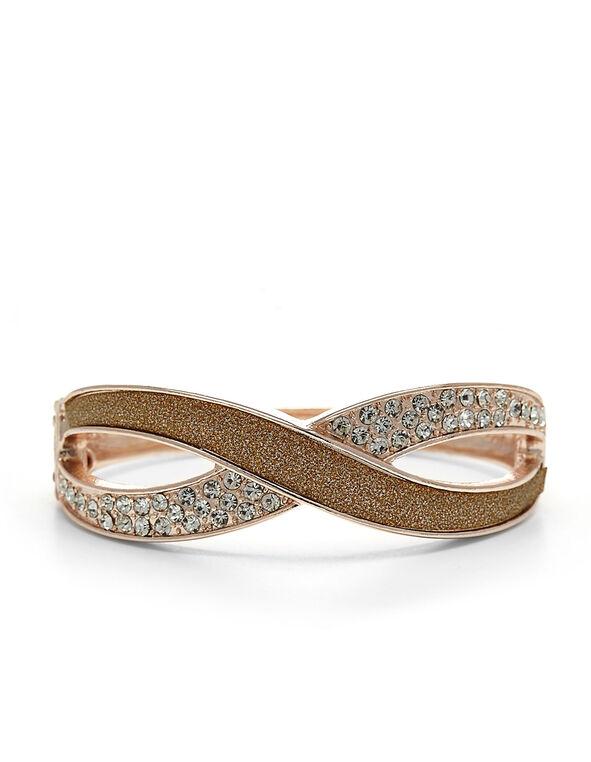 Rose Gold Glitter Infinity Bangle, Rose Gold, hi-res