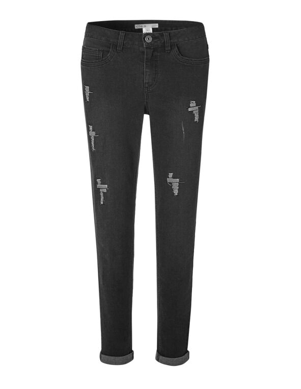 Distressed Every Body Slim Jean, Black, hi-res