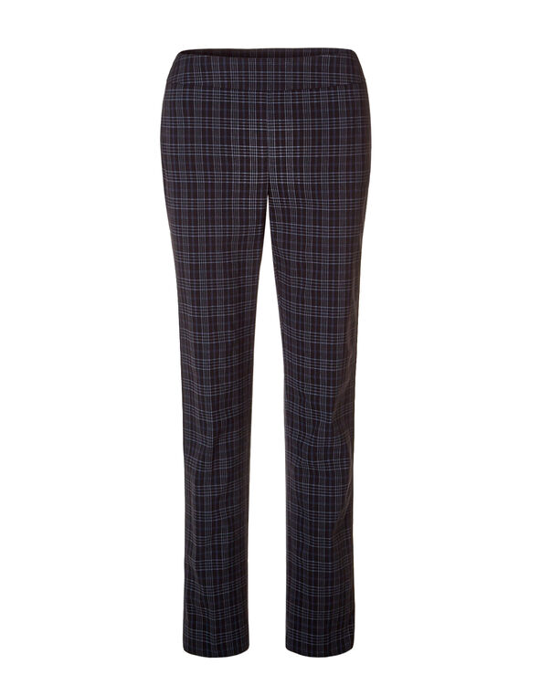 Plaid Cleo Signature Slim Leg Pant, Black/Grey/Navy, hi-res