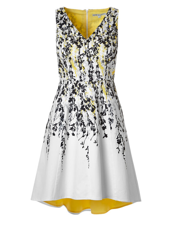 Yellow Floral Dress With Pockets, Yellow/Black, hi-res