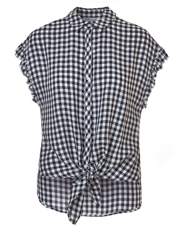 Gingham Button Up Tie Blouse, Gingham, hi-res