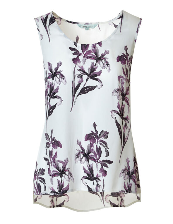 Ivory Floral Shell Blouse, Ivory/Orchid Floral, hi-res