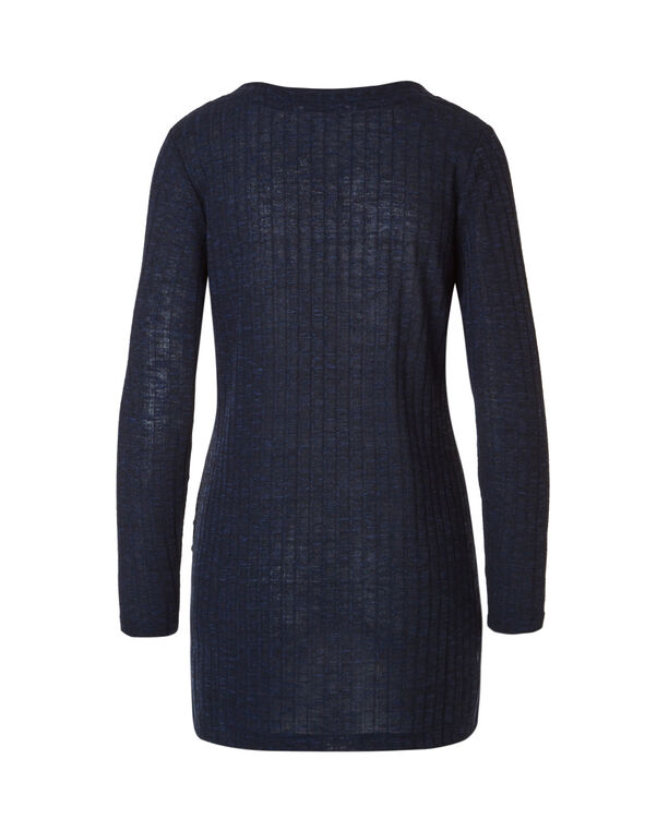 Navy Rib Knit Tunic, Navy, hi-res
