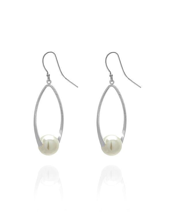 Silver Pearl Twist Earring, Silver/Pearl, hi-res
