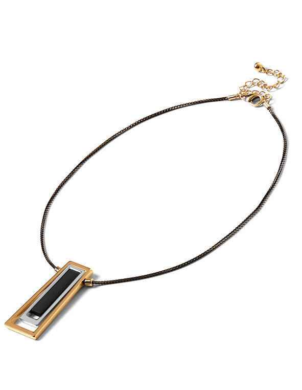 Black Short Pendant Necklace, Black/Gold, hi-res