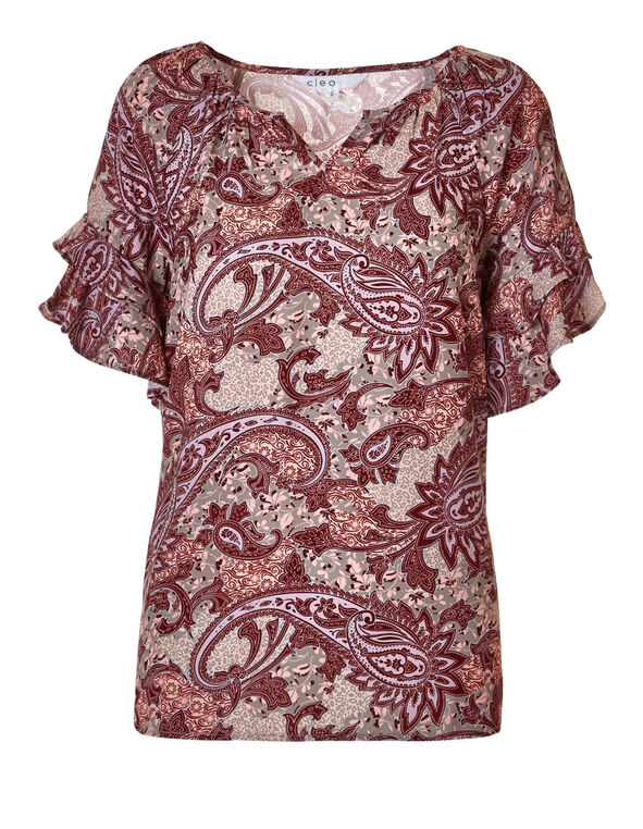 Paisley Flutter Sleeve Blouse, Red/Biscuit/Blue Cloud/Pink, hi-res