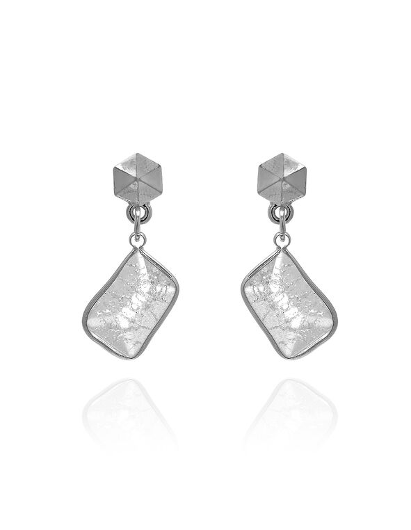 White Semi-Precious Stone Earring, White, hi-res