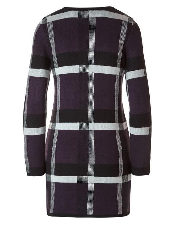 Purple Plaid Open Coatigan Sweater, Purple, hi-res