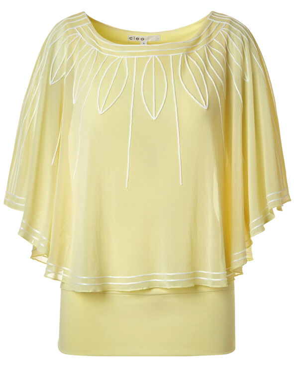 Yellow Embroidered Caftan, Yellow/White, hi-res