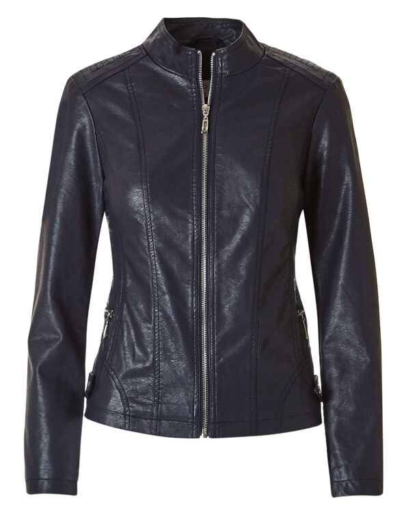 Navy Faux Leather Jacket, Navy, hi-res