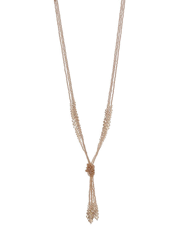 Champagne Beaded Tassel Necklace, Champagne, hi-res