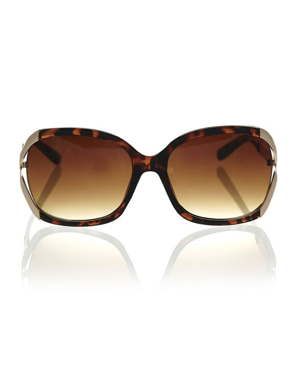 Brown Tort Oval Frame Sunglasses, Brown, hi-res