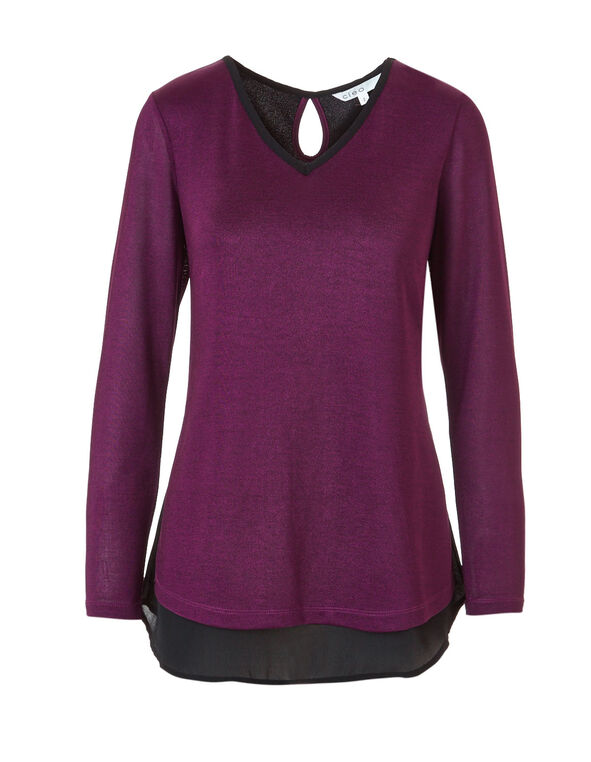 Raspberry V-Neck Woven Top, Raspberry, hi-res