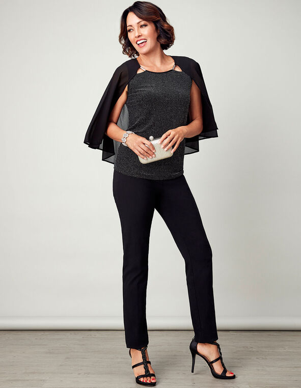Black Shimmer Caplet Top, Black, hi-res