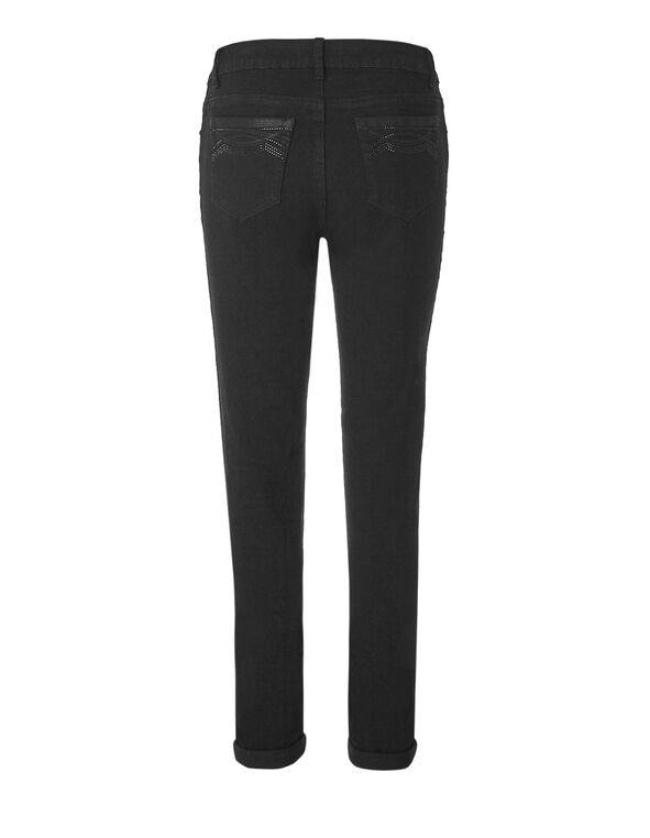 Black Curvy 5 Pocket Jean, Black, hi-res