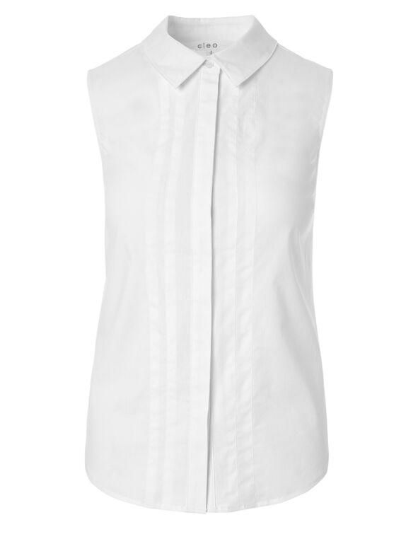 White Button Front Blouse, White, hi-res