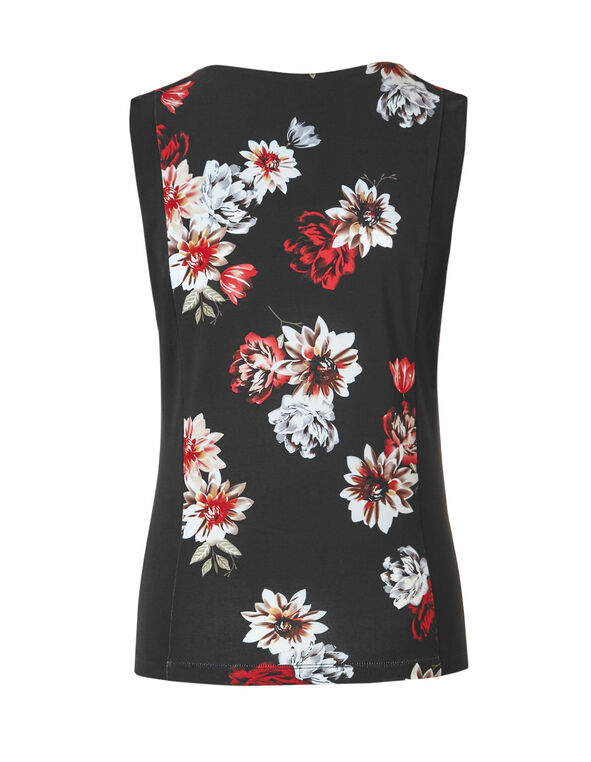 Pleated Floral Print Top, Red/Ivory/Black, hi-res