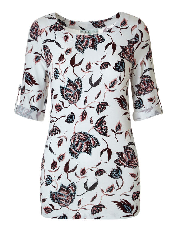 Ivory Floral Roll Sleeve Top, Ivory, hi-res