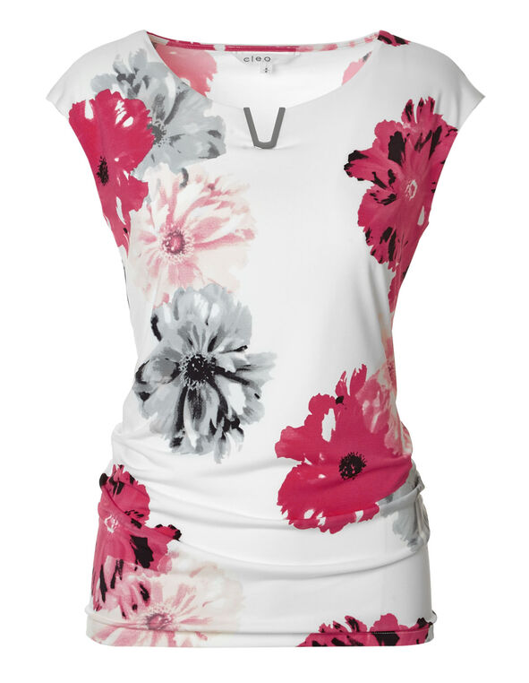 Pink Floral Shell Top, Pink/Ivory, hi-res
