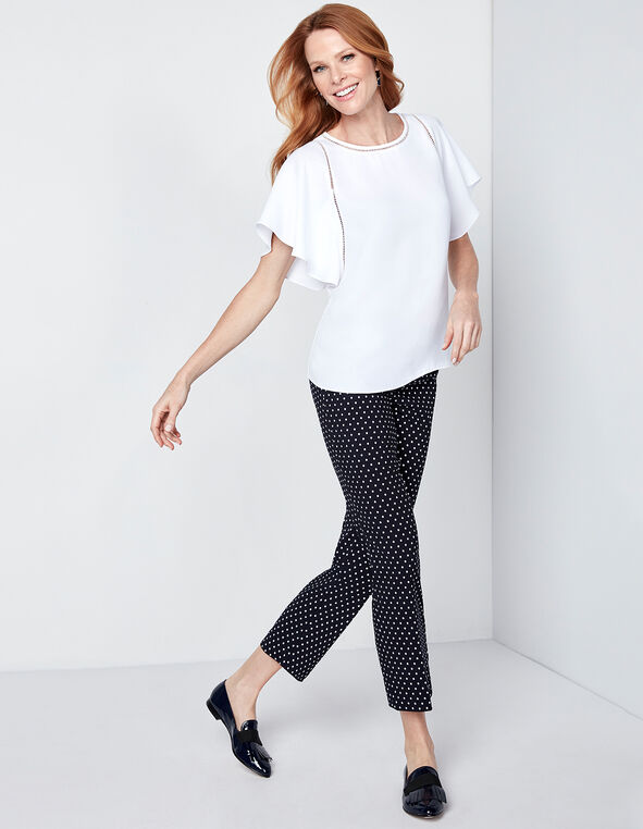 Navy Dotted Crop Pant, Navy/White, hi-res
