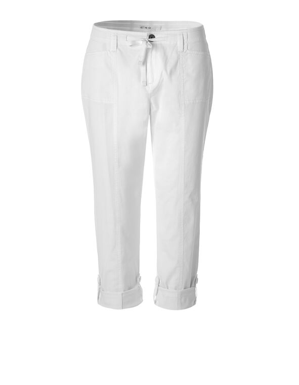 White Poplin Roll Up Pant, White, hi-res
