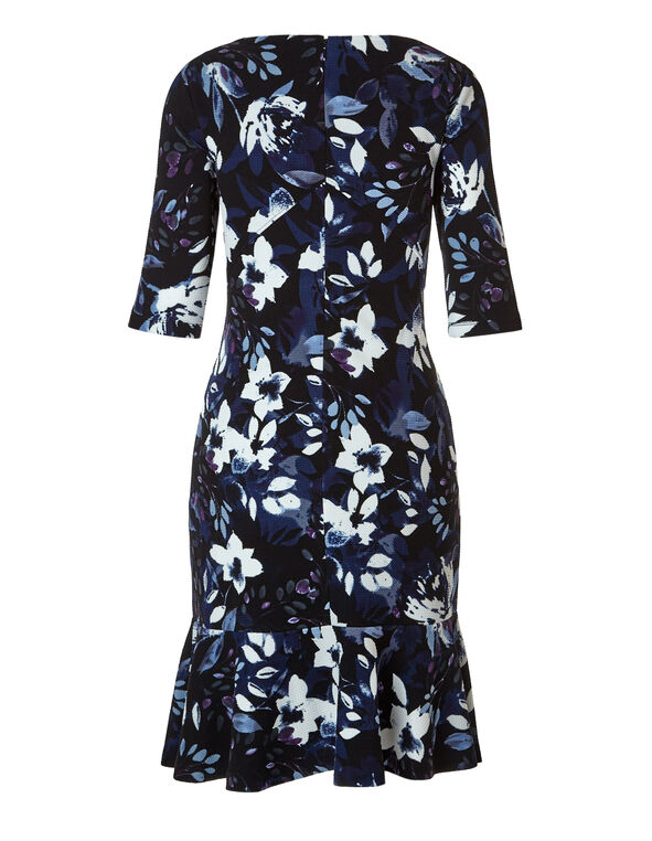 Floral Fit and Flare Dress, Black/Blue Cloud/Deep Plum, hi-res