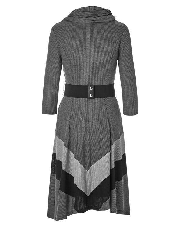 Grey Belted Sweater Dress, Grey, hi-res