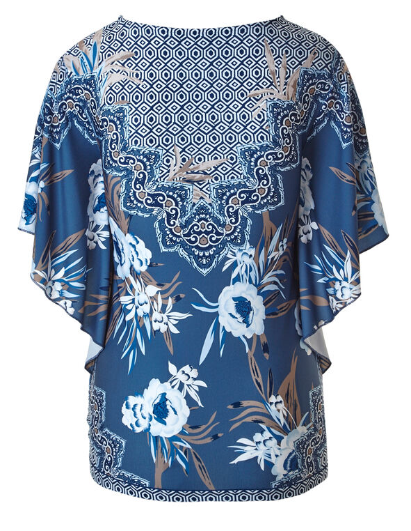 Blue Printed Caftan Top, Blue Combo, hi-res