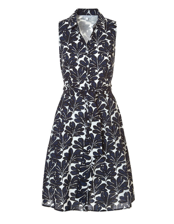 Navy Leaf Print Shift Dress, Navy/Ivory/Black, hi-res