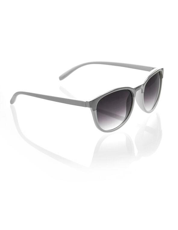 White Metal Detail Wayfarer Sunglasses, White, hi-res