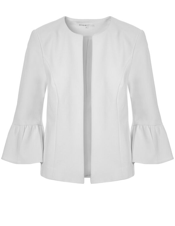 White Open Front Blazer, White, hi-res